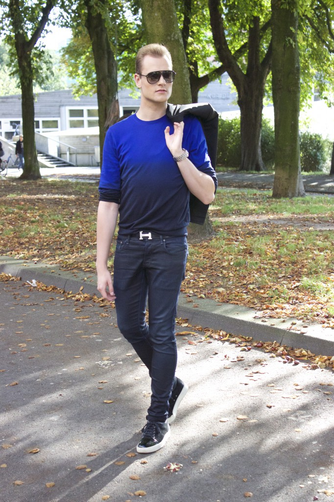 cos ombre pullover, g-star jeans, lanvin shoes