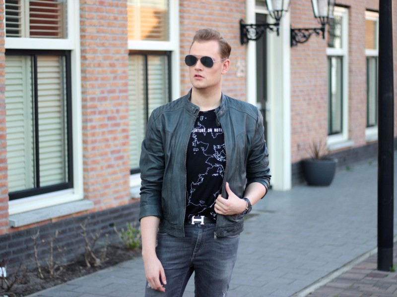 Adventure or nothing Zara tee Garcia jeans leather jacket, garcia jeans, vagabond shoes, acne studios sunglasses justkvn menswear and lifestyle blog