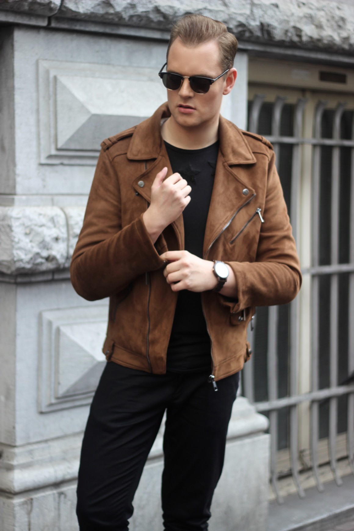 Suede Biker jacket men outfit JustKVN menswear and lifestyle blog