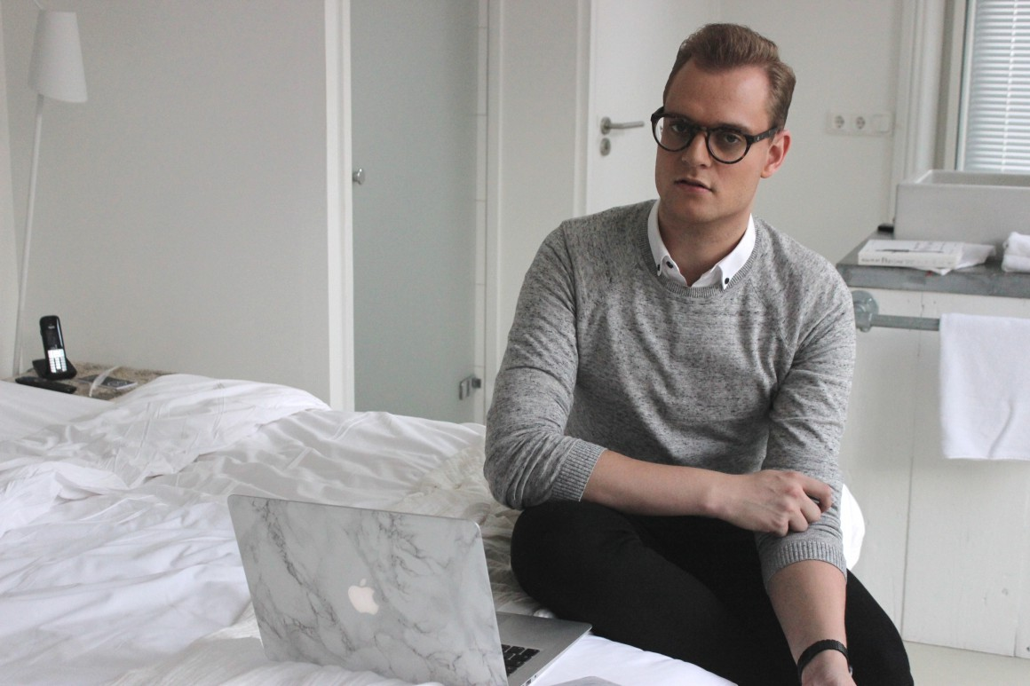 Glasses grey sweater and chelsea boots JustKVN Menswear blog