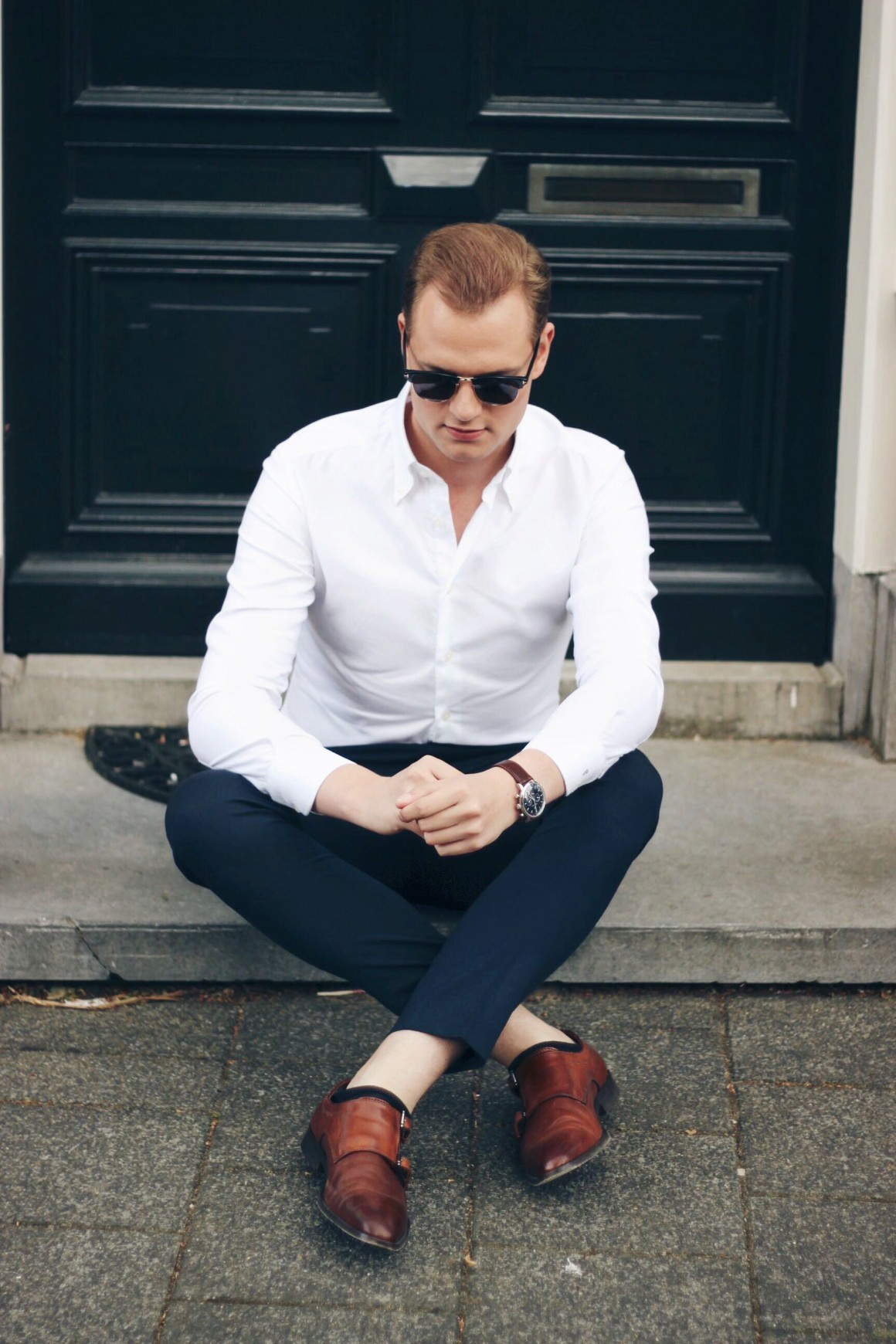 Classic Look Asos cropped trousers Humberto Tan monkstaps Van Gils shirt Tom Ford Sunglasses JustKVN menswear and lifestyle blog