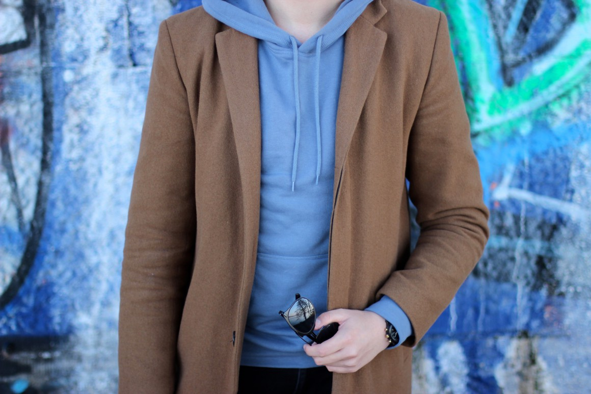 Camel Coat with Hoodie outfit JustKVN menswear and lifestyle blog