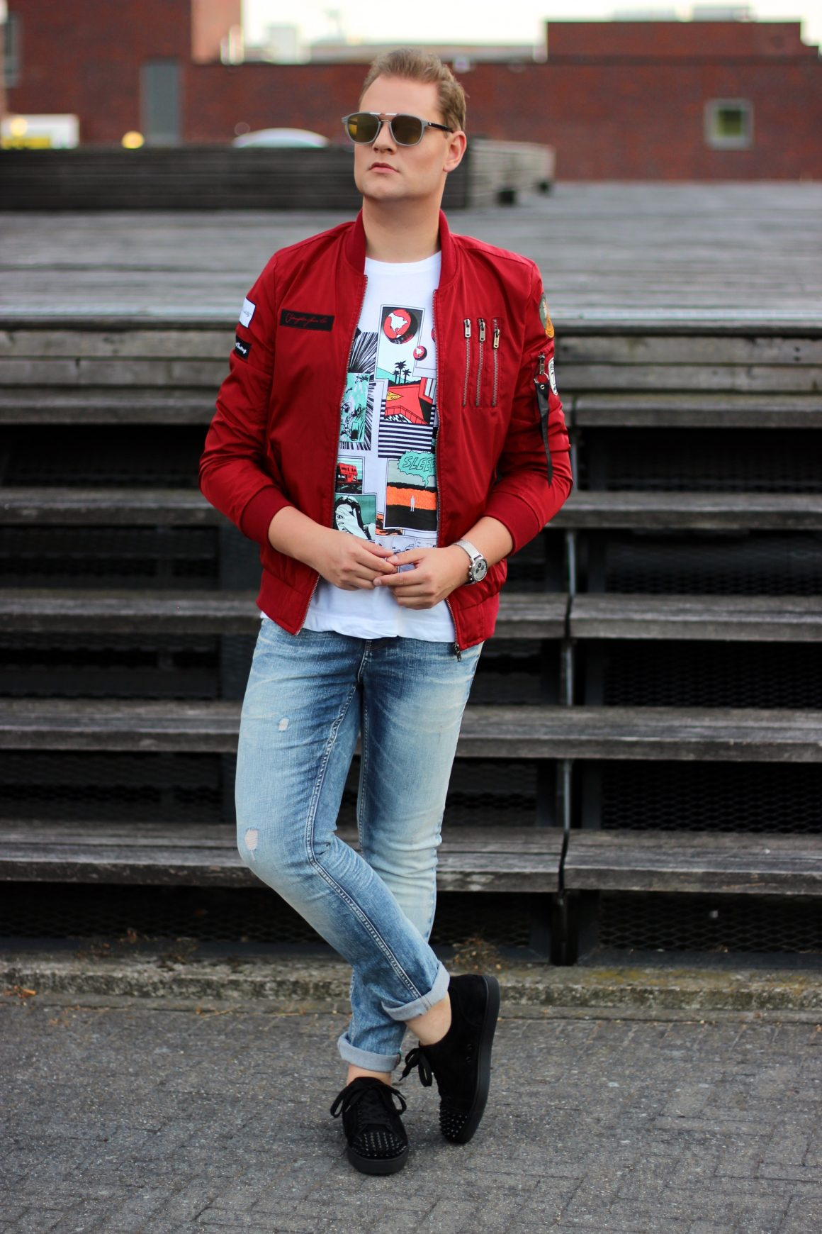 Red Bomber jacket JustKVN menswear and lifestyle blog